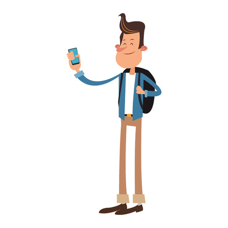 Young man taking a selfie with smartphone cartoon vector illustration graphic design Illustration