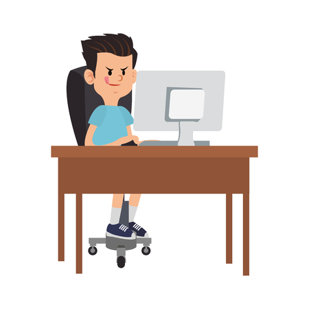 Idle boy using computer cartoon vector illustration graphic design
