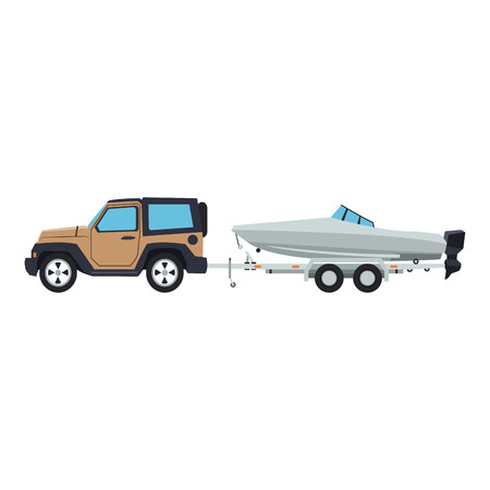 Suv towing boat vector illustration graphic design