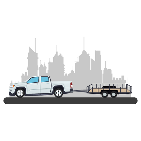 Pick up towing empty trailer at city over cityscape vector illustration graphic design Illustration