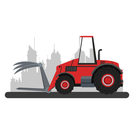 Farm tractor vehicle at city over cityscape vector illustration graphic design