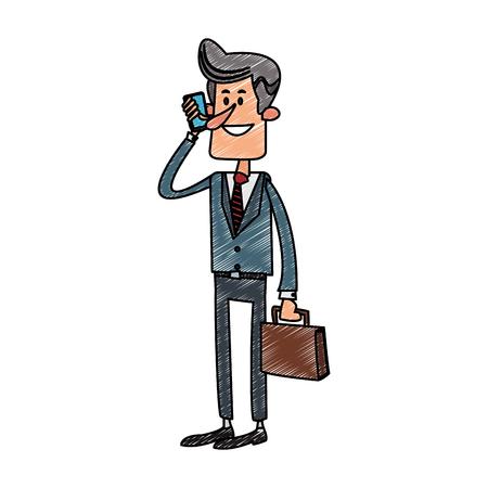Businessman calling with smartphone cartoon vector illustration graphic design Illustration