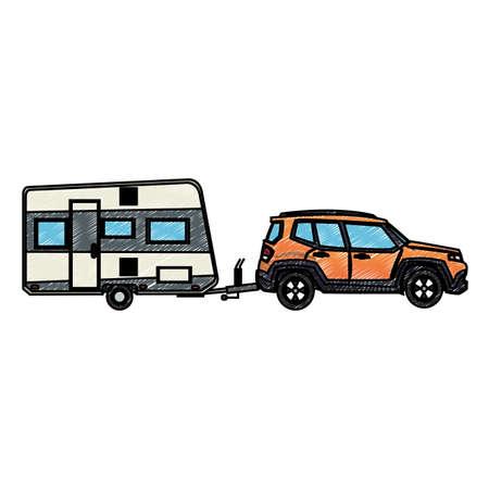 SUV truck towing trailer vector illustration graphic design