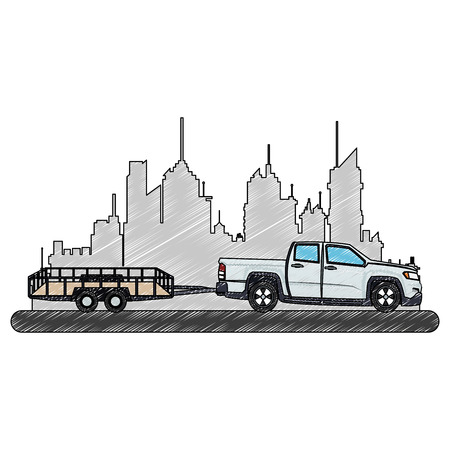 Pick up towing empty trailer at city over cityscape vector illustration graphic design 向量圖像
