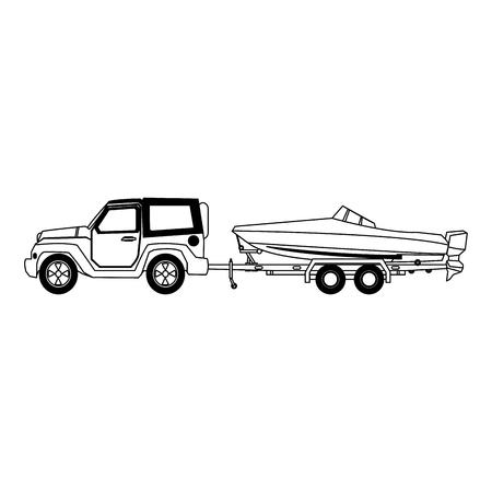 Progettazione grafica dell'illustrazione di vettore della barca di rimorchio di SUV