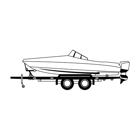 Boat on trailer isolated vector illustration graphic design