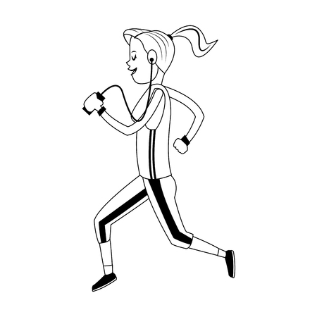 Woman running and listening music with smartphone vector illustration graphic design