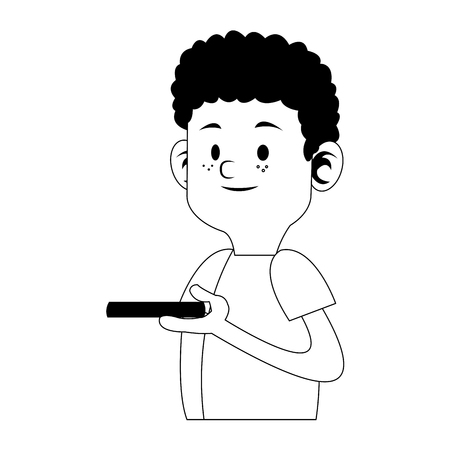 Boy playing with smartphone cartoon vector illustration graphic design
