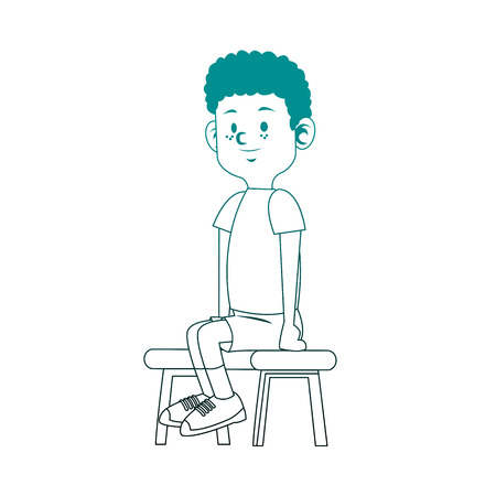 Cute boy seated vector illustration graphic design