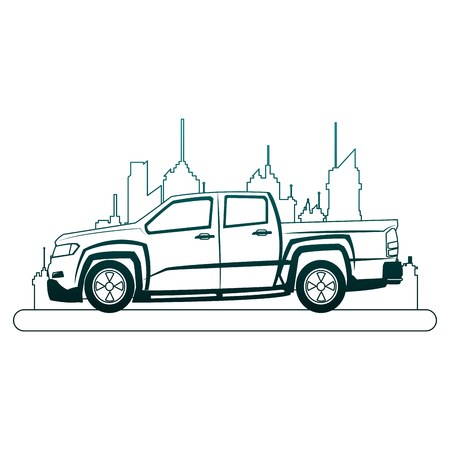 Pick up truck at city over cityscape vector illustration graphic design