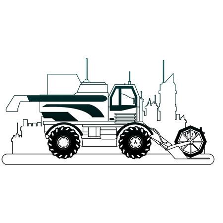 Farm truck vehicle at city over cityscape vector illustration graphic design