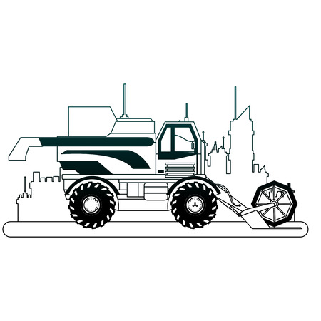 Farm truck vehicle at city over cityscape vector illustration graphic design