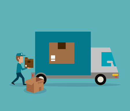 Courier with box express delivery vector illustration graphic design