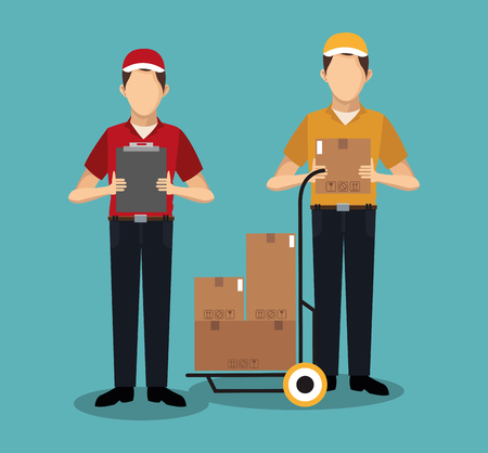 Couriers with boxes vector illustration graphic design Stock Illustratie