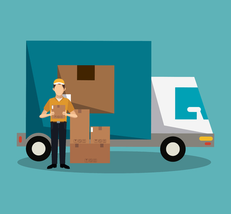 Courier holding box with truck vector illustration graphic design