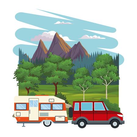 Caravan at nature landscape vector illustration graphic design