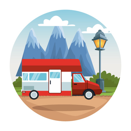 Caravan at nature landscape vector illustration graphic design
