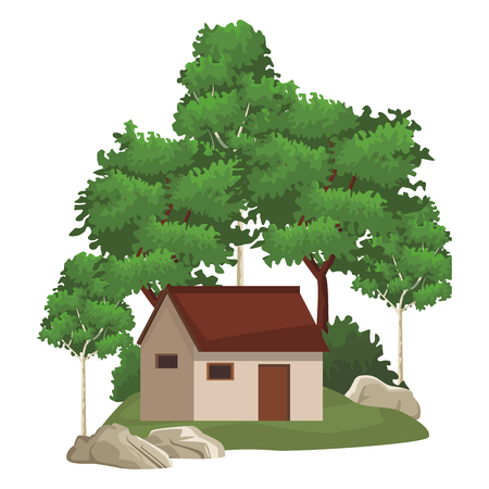 House in nature landscape scenery vector illustration graphic design