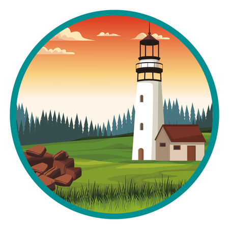 Lighthouse at landscape scenery vector illustration graphic design