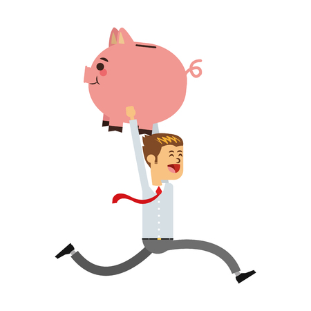Businessman with piggy savings vector illustration graphic design