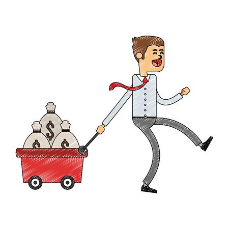 Businessman pulling cart with money bags vector illustration graphic design Illustration