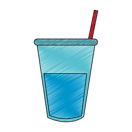 Glass water with straw vector illustration graphic design