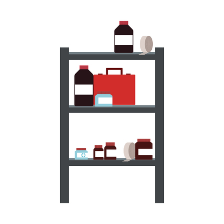 Medicines on shelf vector illustration graphic design. Ilustracja