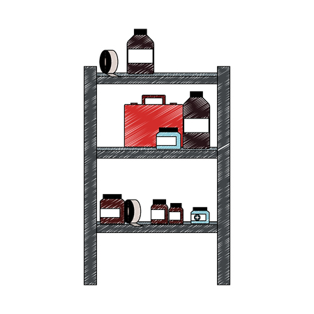 Medicines on shelfs vector illustration graphic design