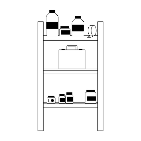 Medicines on shelfs vector illustration graphic design