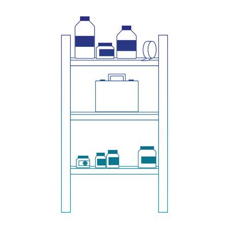 Medicines on shelf vector illustration graphic design. Illustration