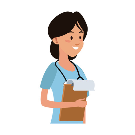 Female doctor cartoon vector illustration graphic design. Illustration