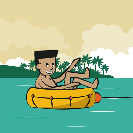 Man in float attached to boat vector illustration graphic design