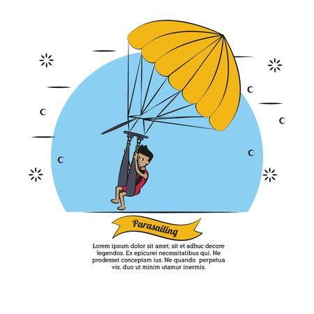 Water sport cartoons parasailing vector illustration graphic design Illustration