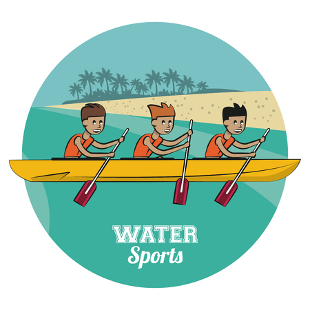 Rafling water sport cartoon vector illustration graphic design Vectores