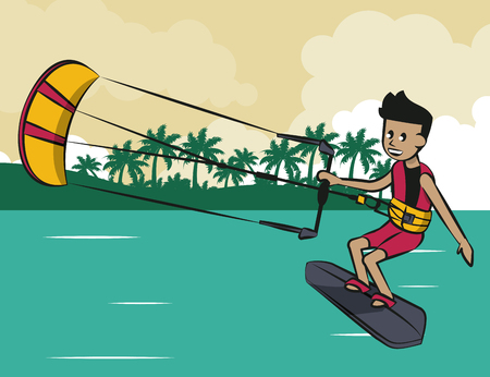 Man doing kite surf sport vector illustration graphic design