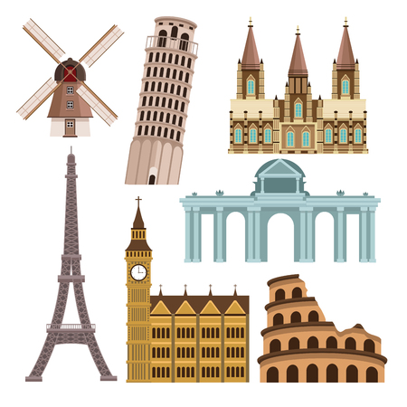 Monuments of europe icons vector illustration graphic design