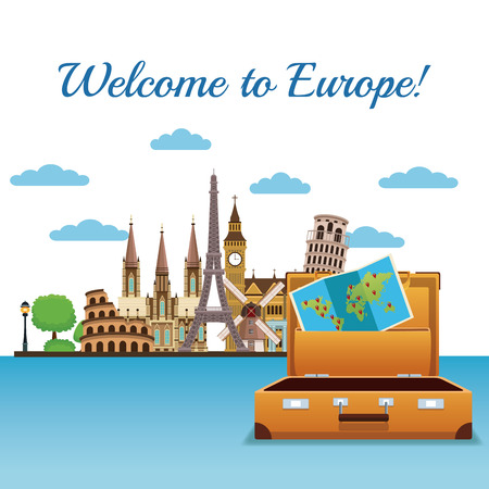Welcome to europe concept vector illustration graphic design Иллюстрация