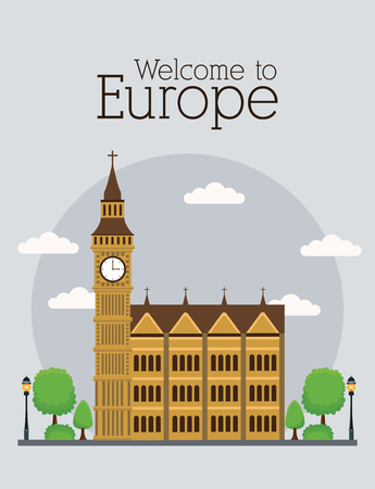 Welcome to europe poster concept vector illustration graphic design