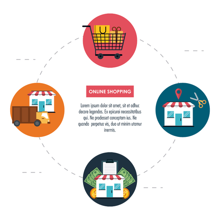 Online shopping infographic with cartoon elements v Illusztráció