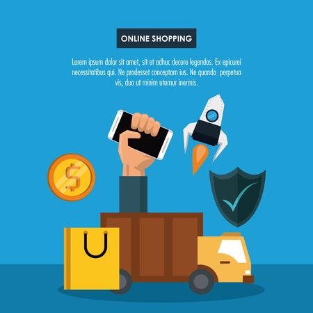 Online shopping infographic with cartoon elements v Illusztráció