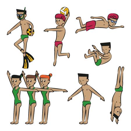 Water sports cartoons vector illustration graphic design