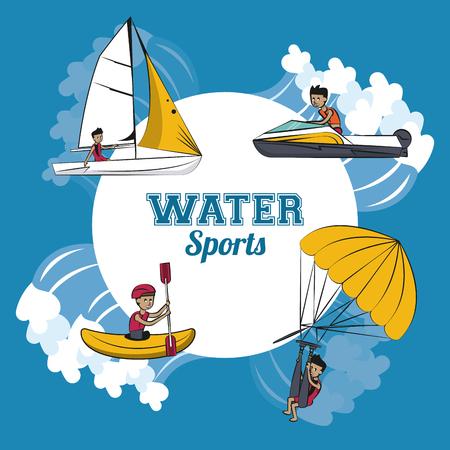Water sports cartoon vector illustration graphic design Illustration