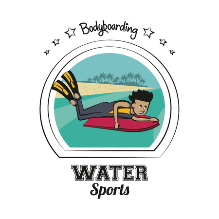 Water sports cartoon bodyboarding vector illustration graphic design