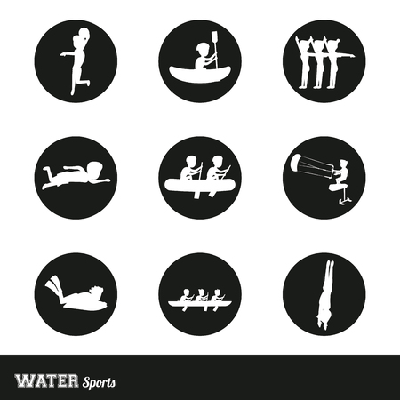 Set of nine water sports round symbols vector illustration graphic design