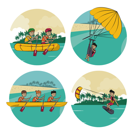 Set of water sports cartoons on round icons vector illustration graphic design Illustration