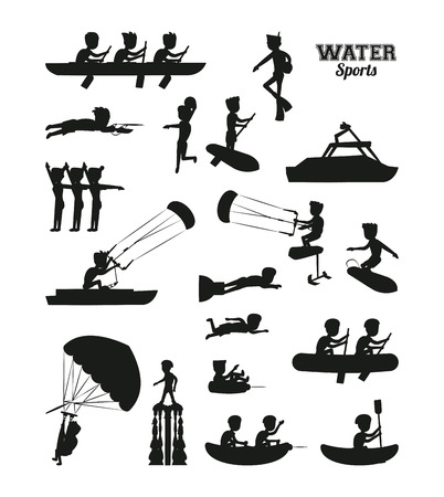 Water sports silhouette  illustration