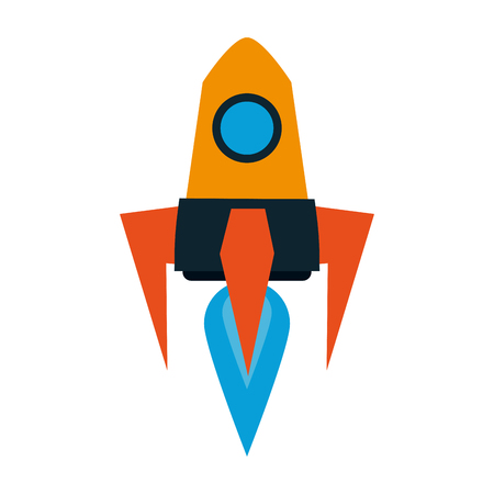 Spaceship rocket taking off vector illustration graphic design