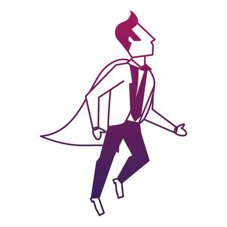Businessman superhero flying vector illustration graphic design