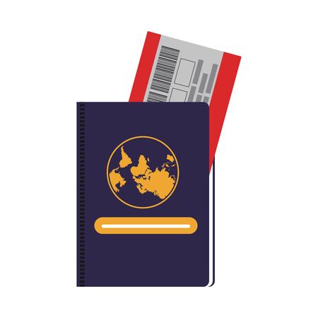 Passport with flight tickets vector illustration graphic design
