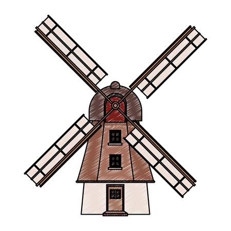 retro windmill building vector illustration graphic design